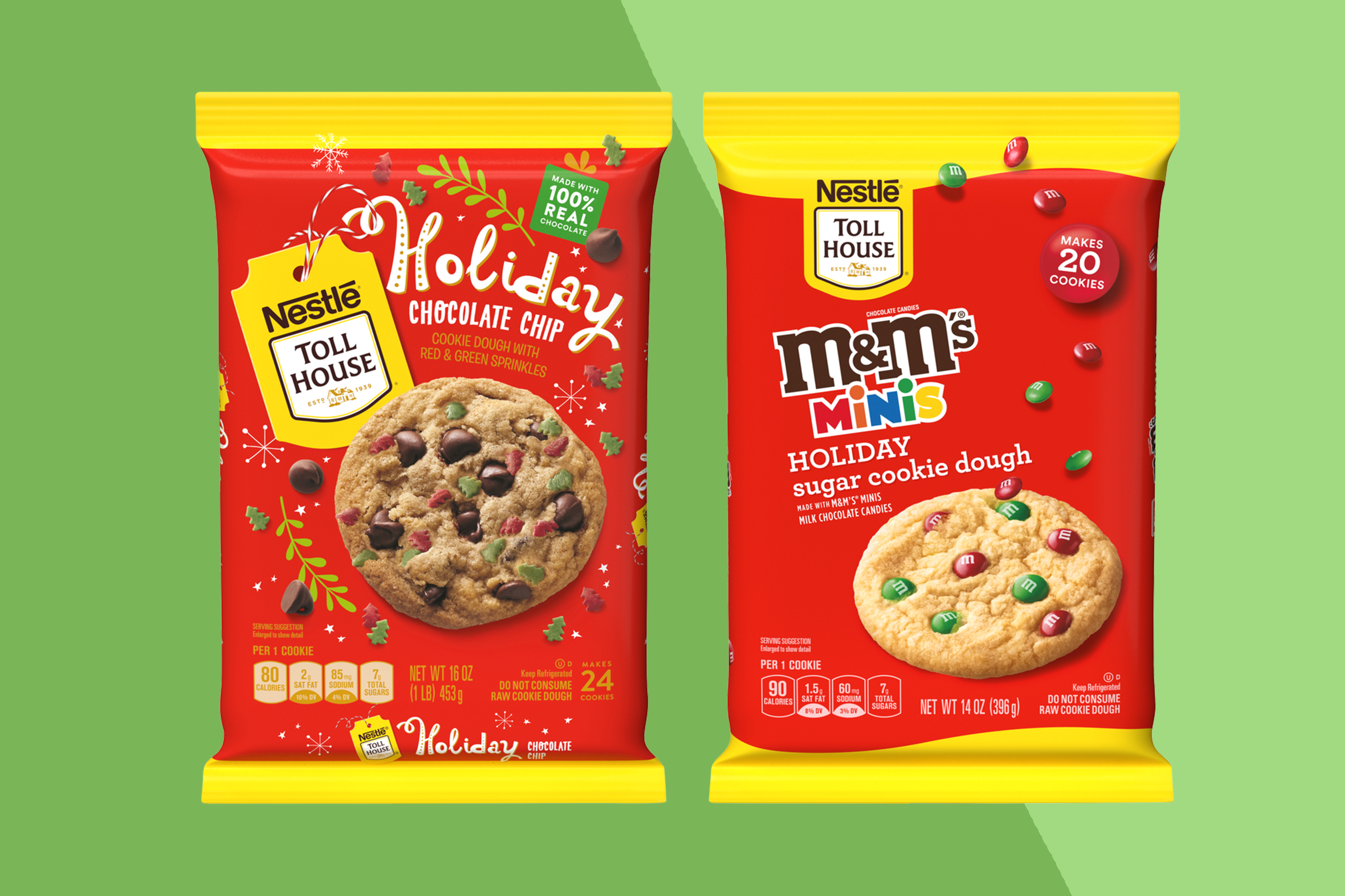 Nestle Toll House Holiday Treats cookie dough packages on two-tone background
