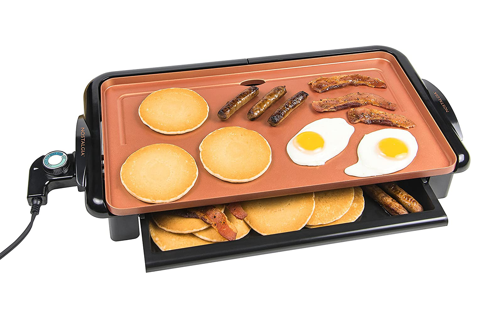 Nostalgia GD20C New and Improved Non-Stick Copper Griddle with Warming Drawer