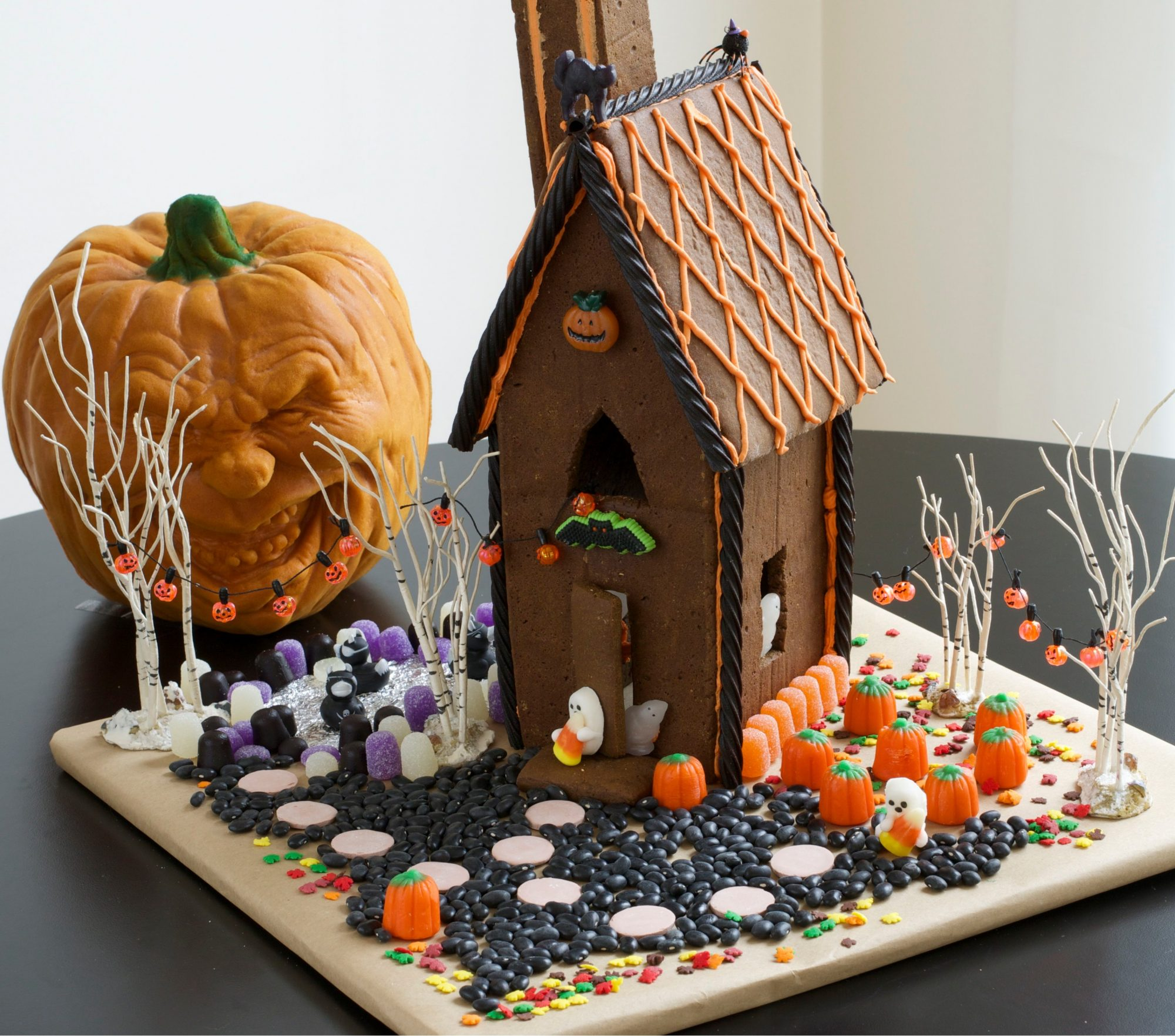 gingerbread house decorated for halloween