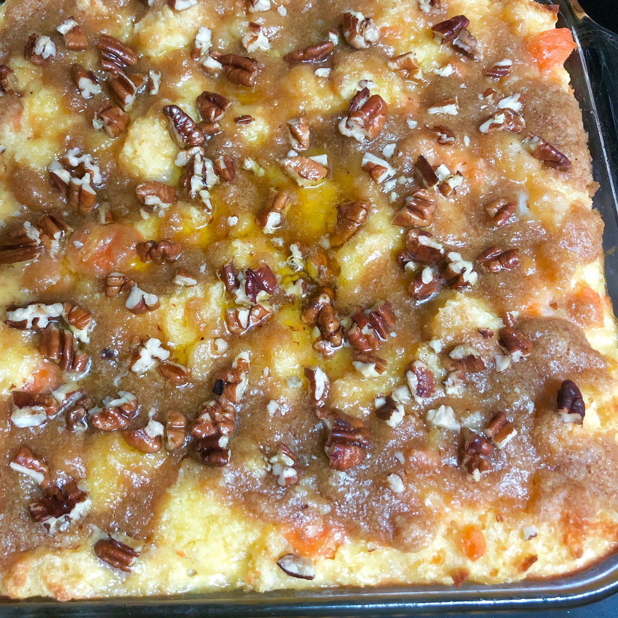 bread pudding with sweet potato, pear, and pineapple