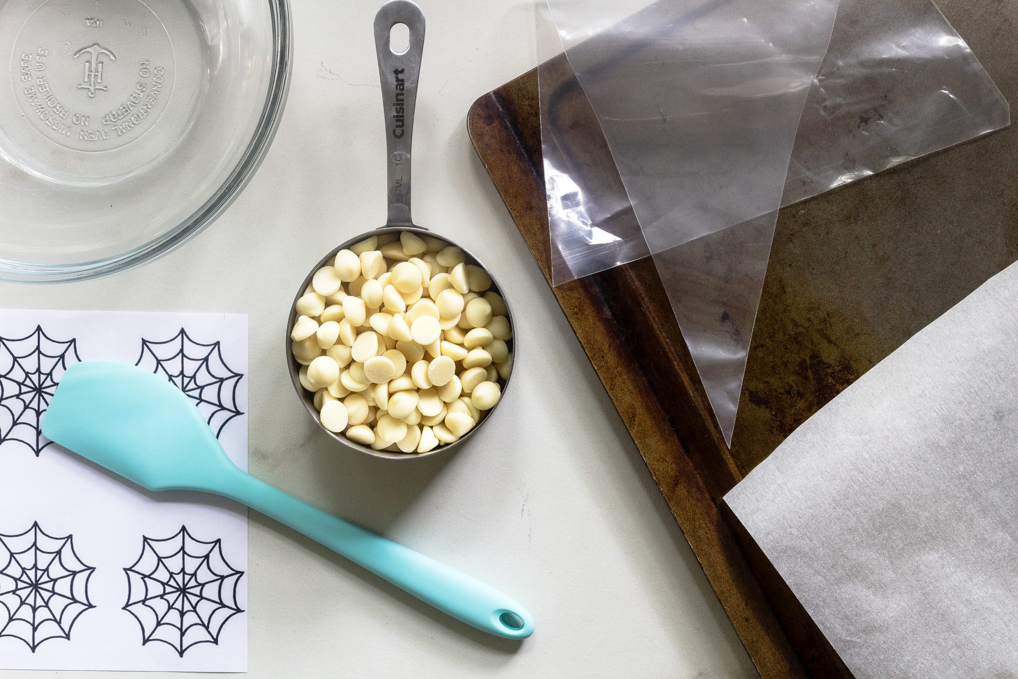 what you need to make chocolate spiderwebs