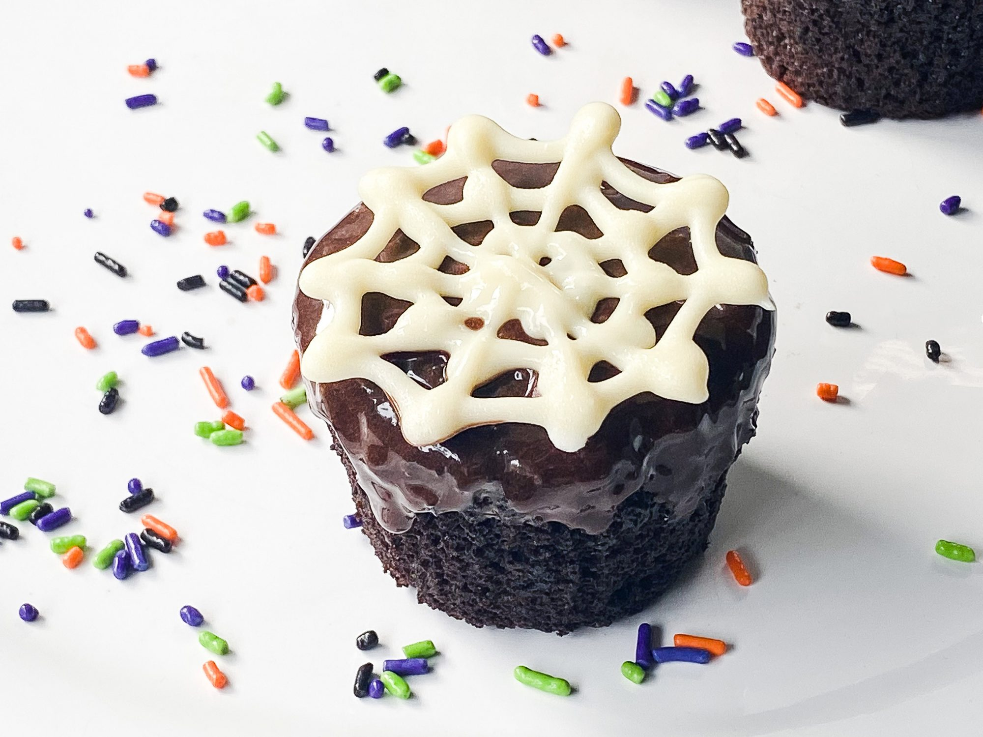 chocolate cupcakes with white spiders on top and colorful sprinkles around