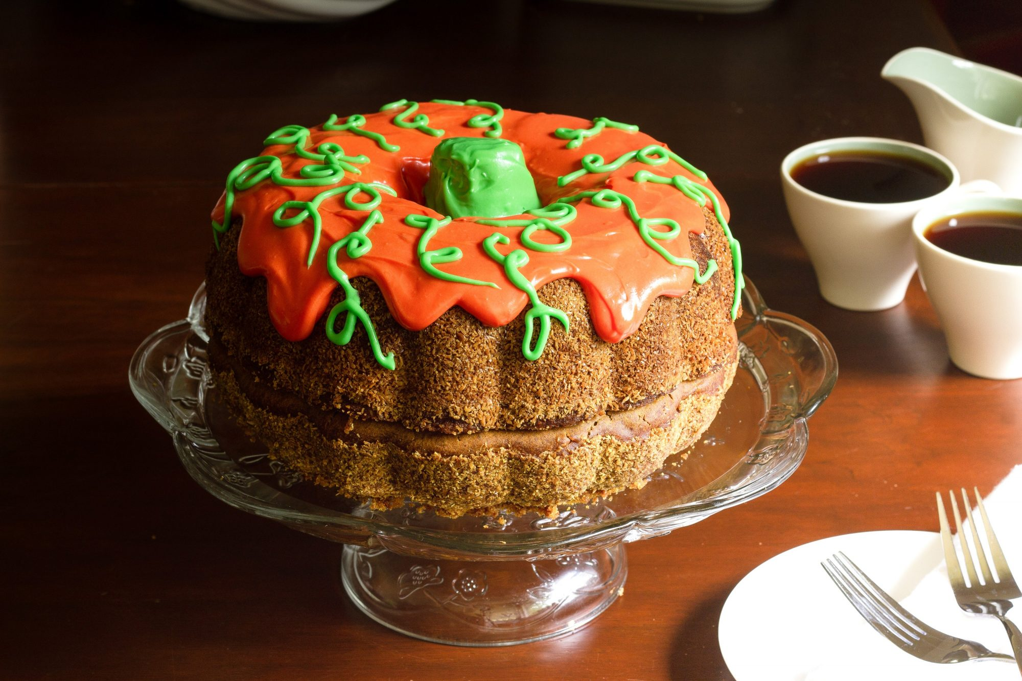 pumpkin bundt cake decorated to look like a pumpkin