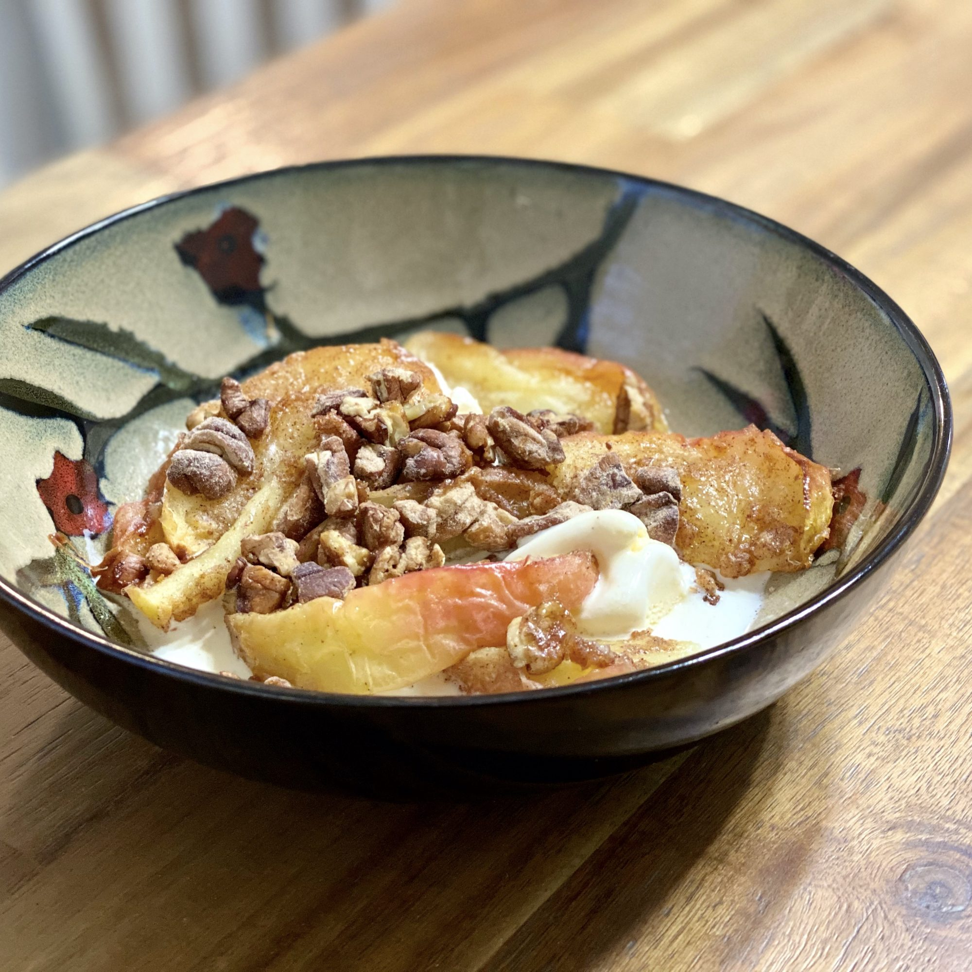 bowl of air fryer pecans and apples