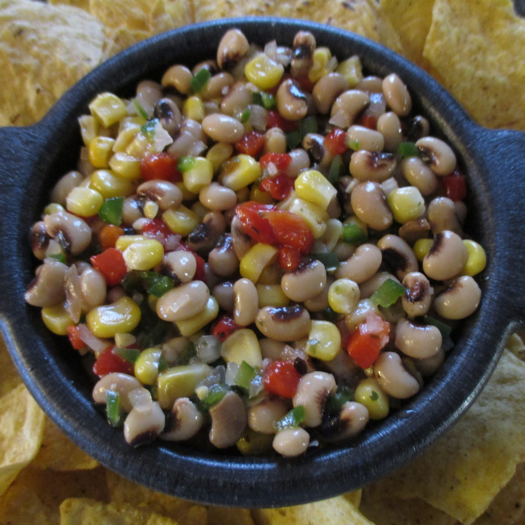 Cold Black-Eyed Peas and Corn with tortilla chips