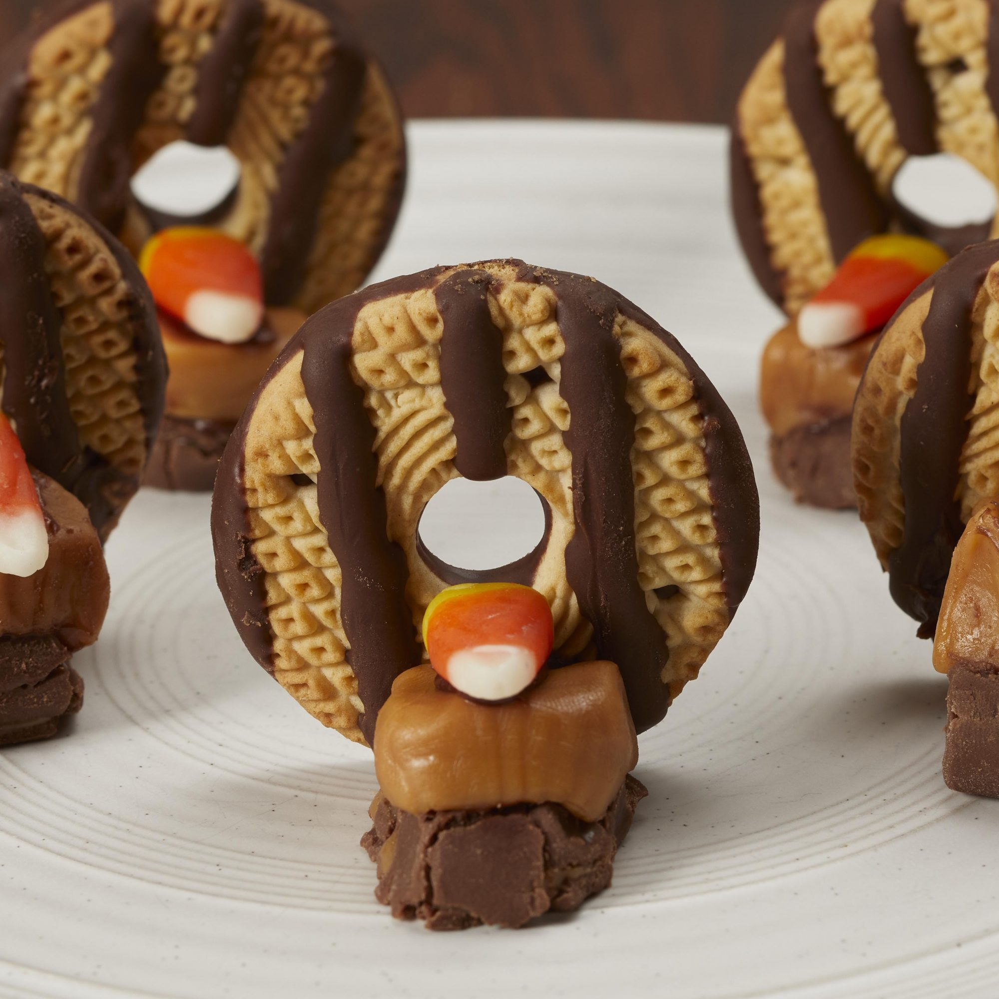 Close up on candy turkeys on a white plate