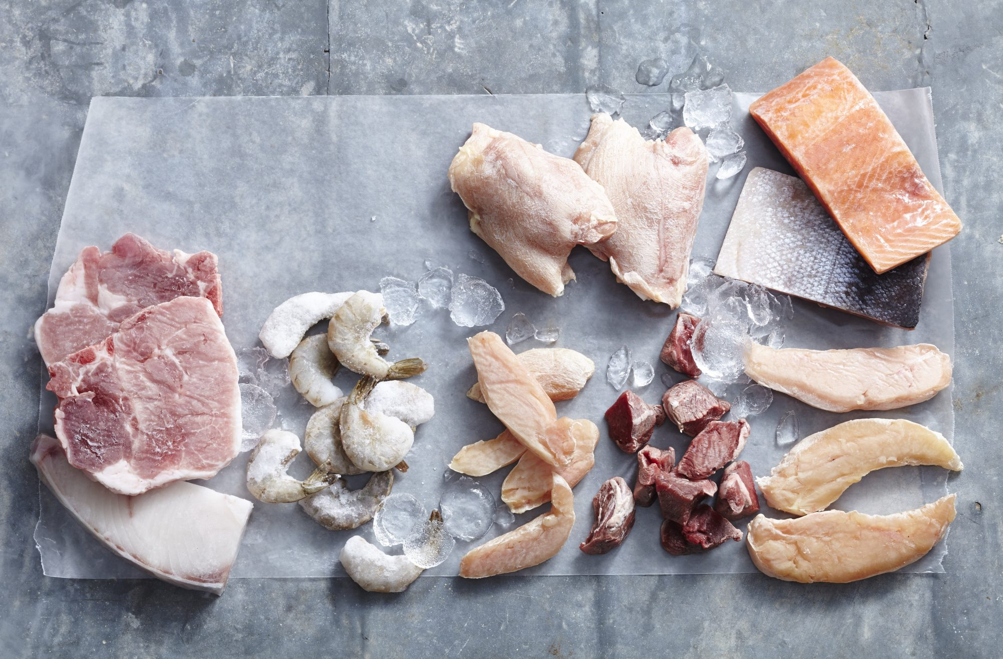 frozen meats and seafood