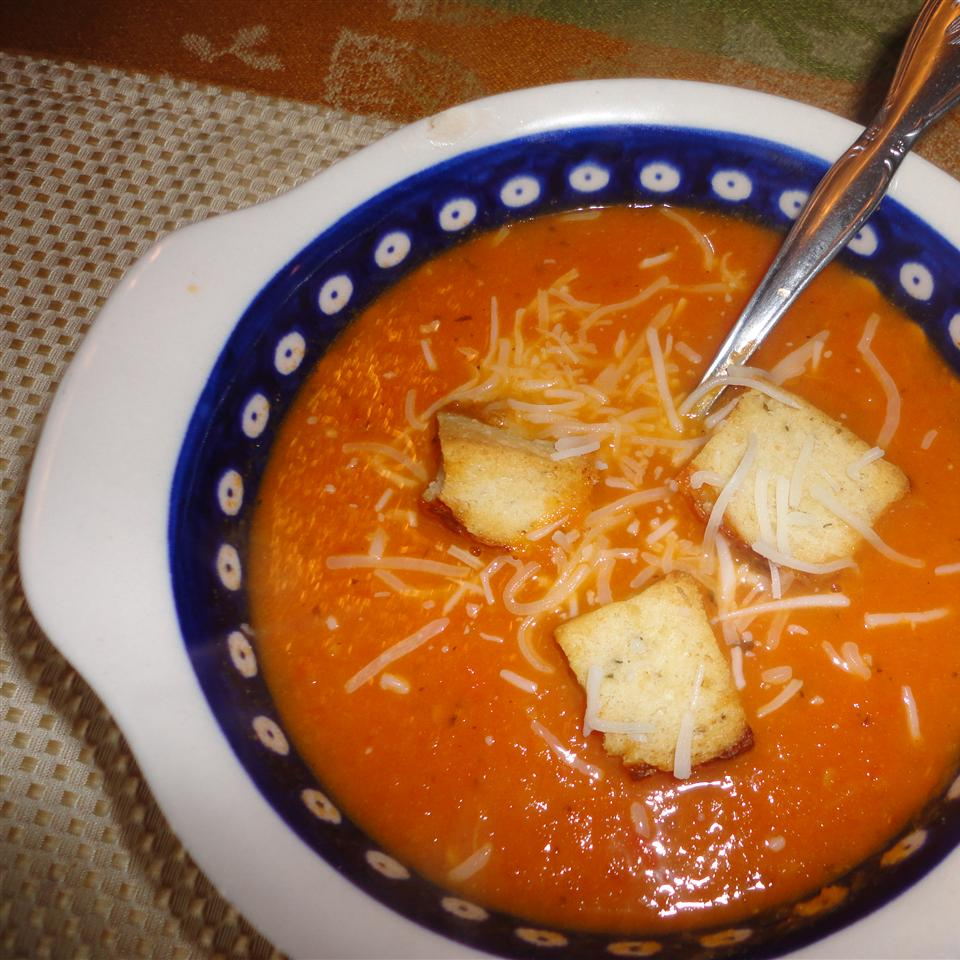 Tomato Basil Soup with croutons