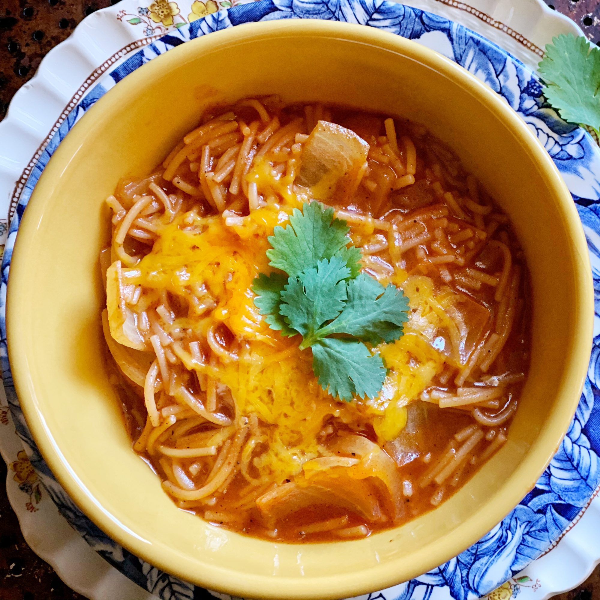 Fideo in a yellow bowl