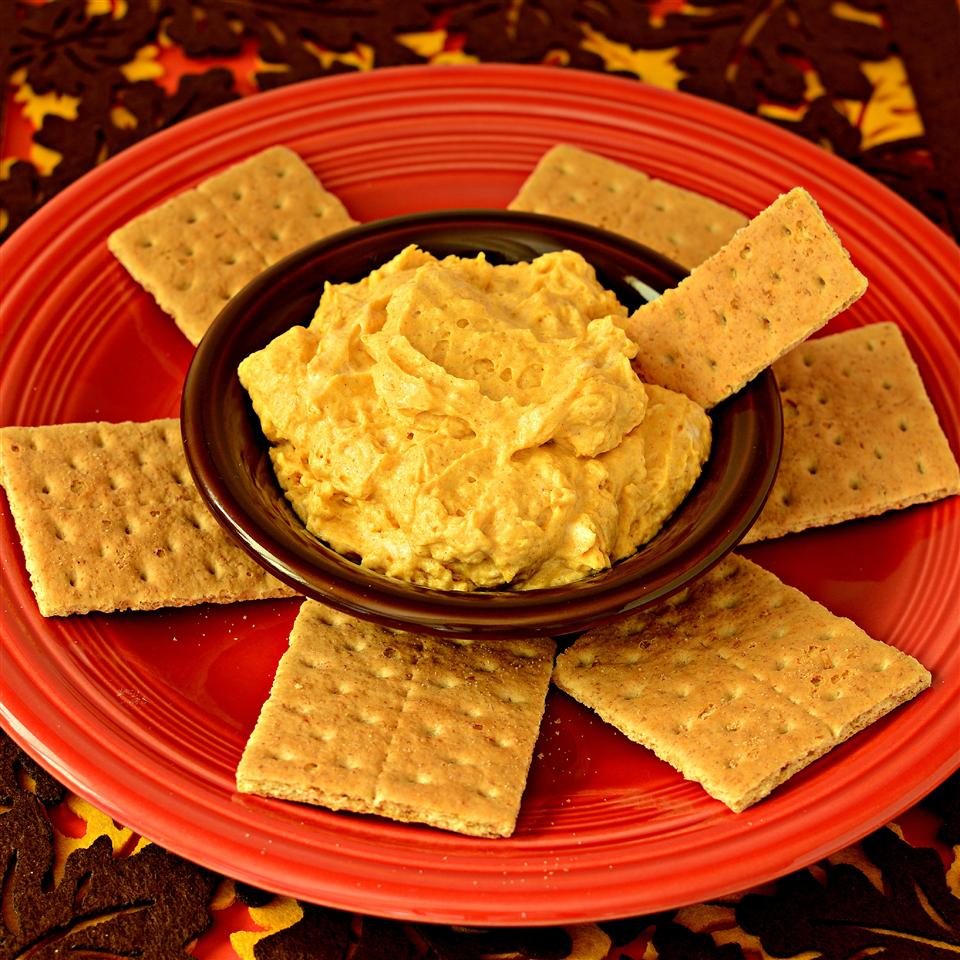plate of pumpkin dip with graham crackers