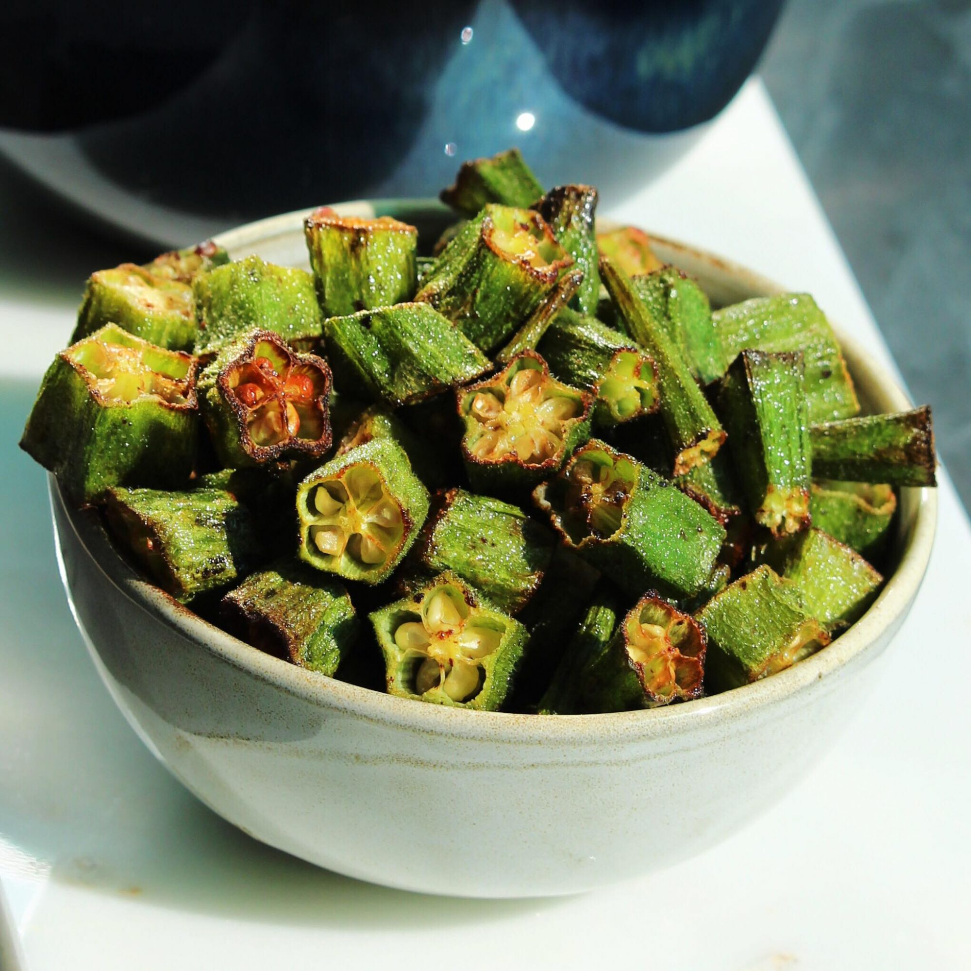 air-fried okra in a white bowl
