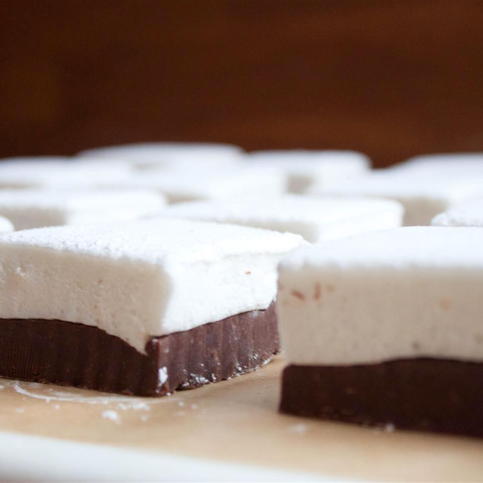 pieces of marshmallow and chocolate fudge