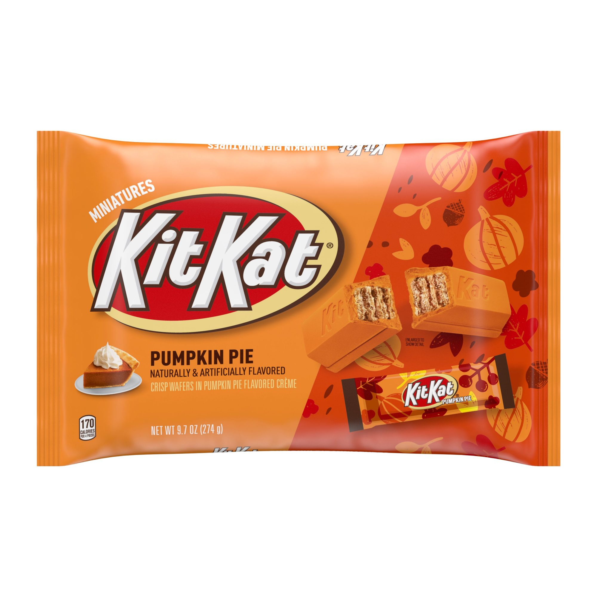 Kit Kat, Halloween Miniatures Wafer Bars Candy In Pumpkin Pie Flavored Crème