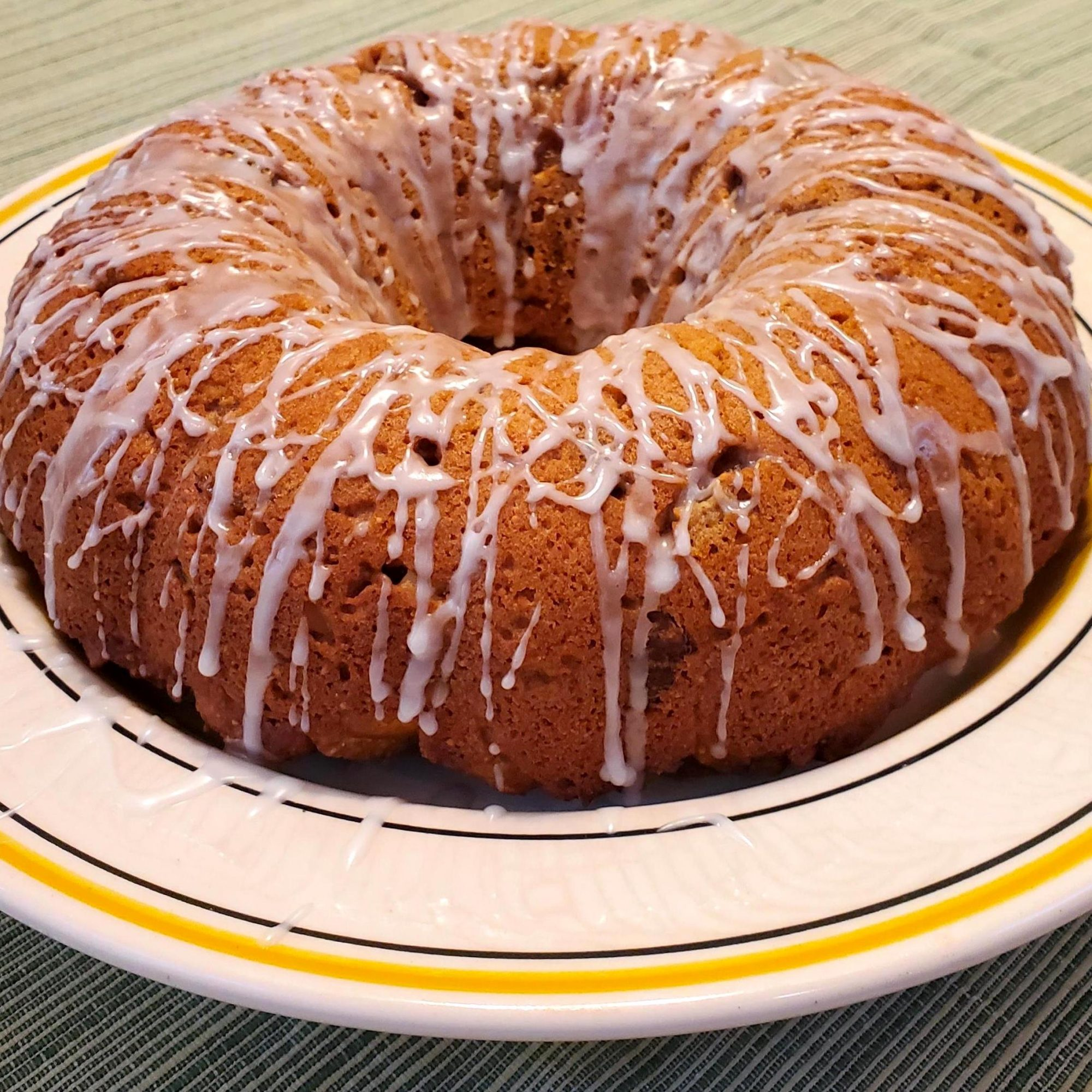 figgy pudding with icing drizzle