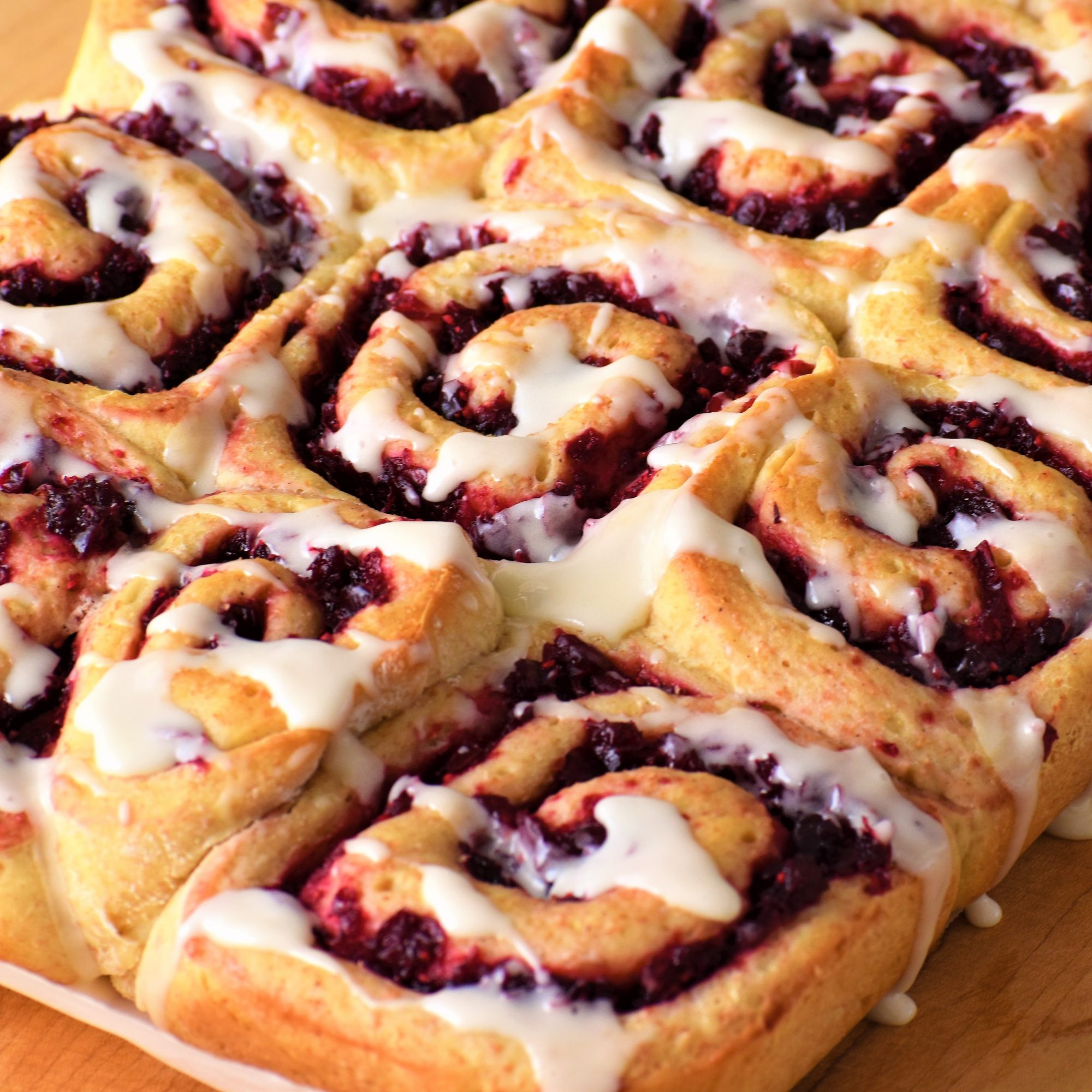 cranberry and orange rolls with icing