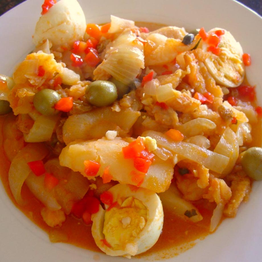 bowl of cod and tomato stew