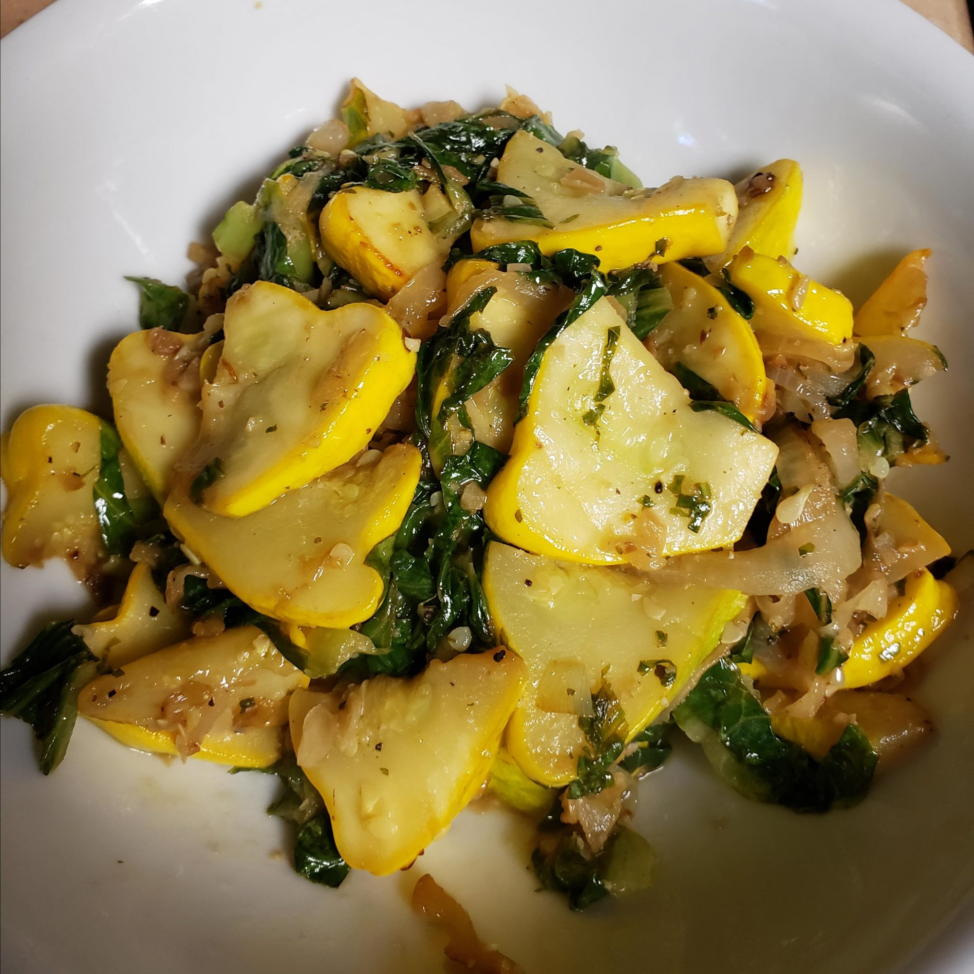 Sauteed Patty Pan Squash in a white bowl