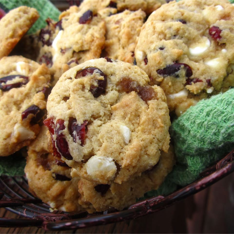 basket of cranberry and white chocolate cookies in a basket