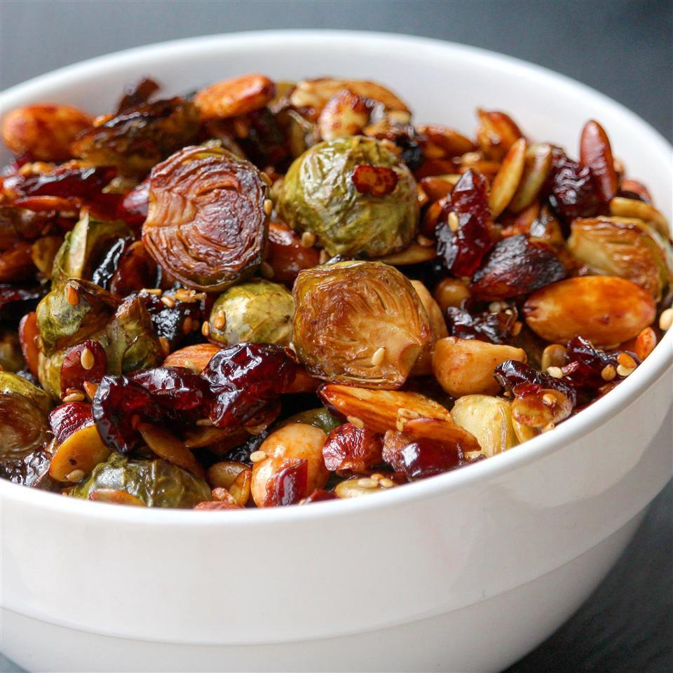 roasted Brussels sprouts, dried cranberries, and almonds in a bowl