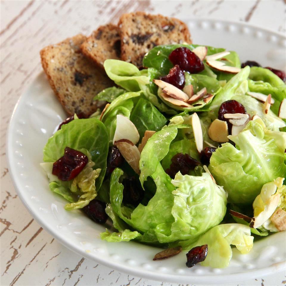 Brussels sprouts salad on a white plate