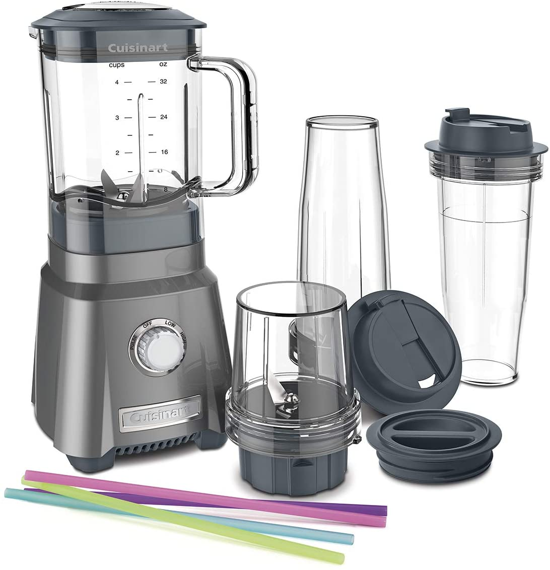 Cuisinart blender with reusable straws, three travel cups, and two lids