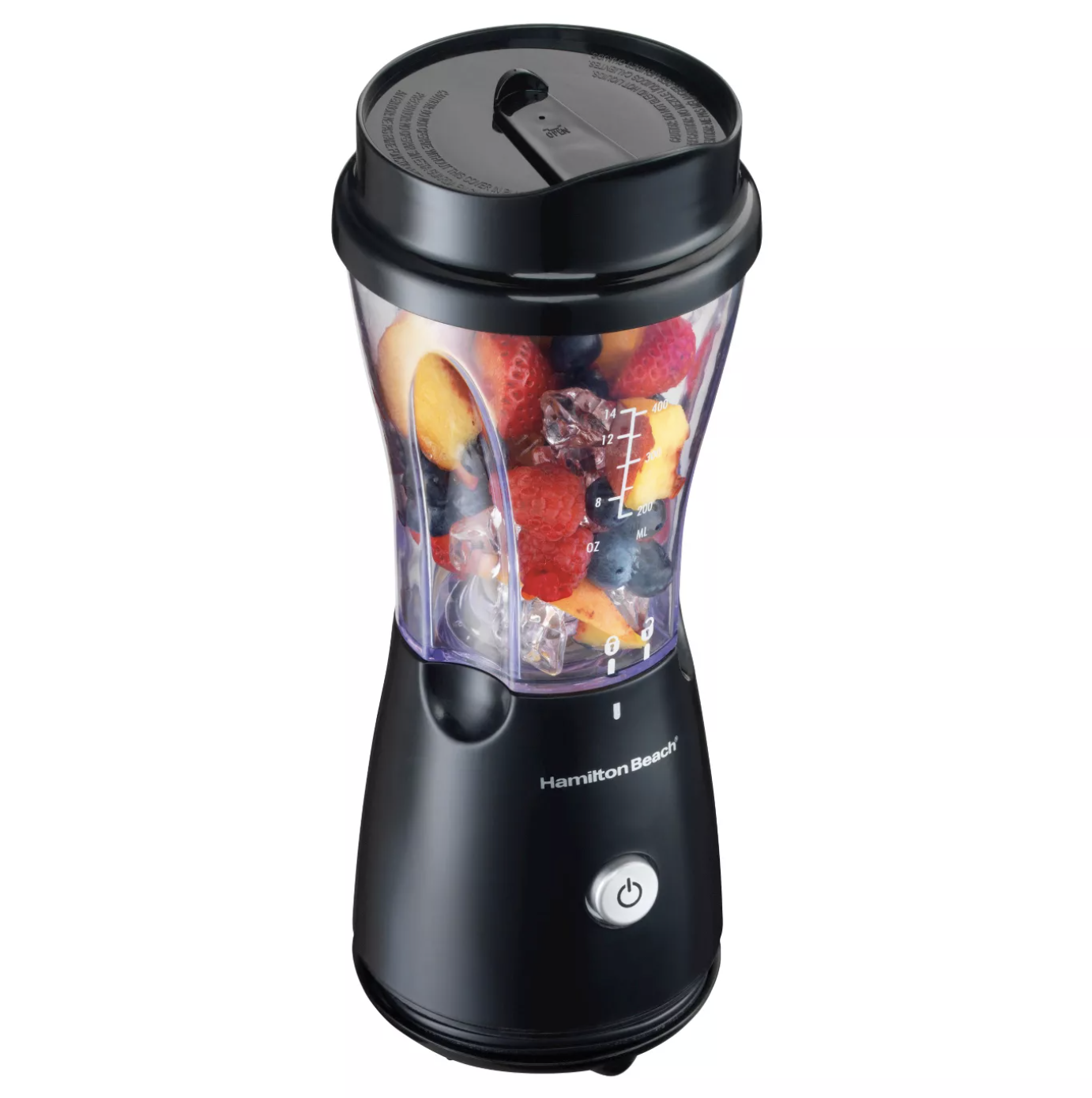 Small, single-serve Hamilton Beach blender with fruit and ice inside