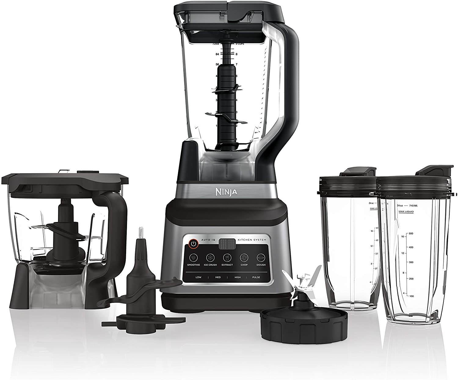Ninja Professional blender with chopping attachment, blades, and two travel cups