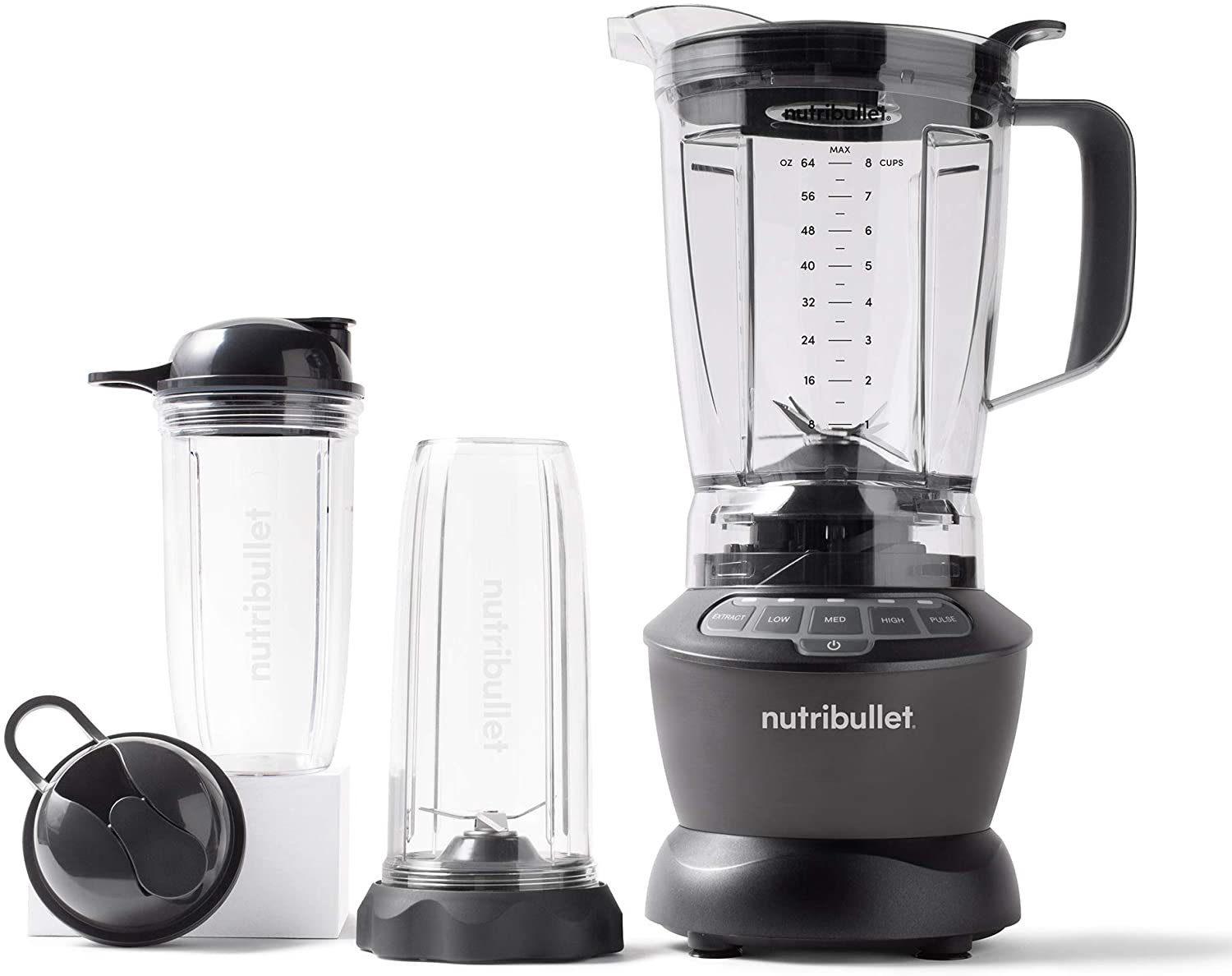 NutriBullet blender with single-serve attachment and travel cup
