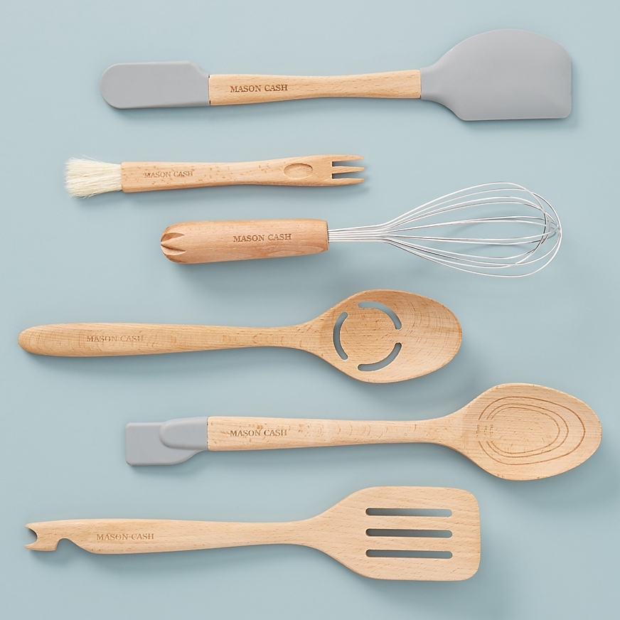 set of six wooden utensils with silicone attachments