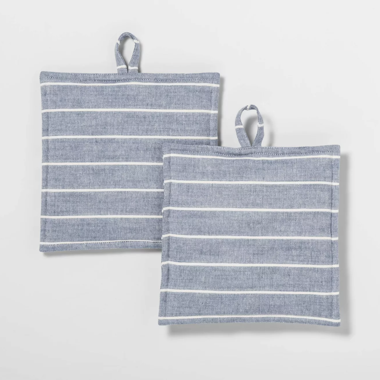two grey-blue striped pot holders