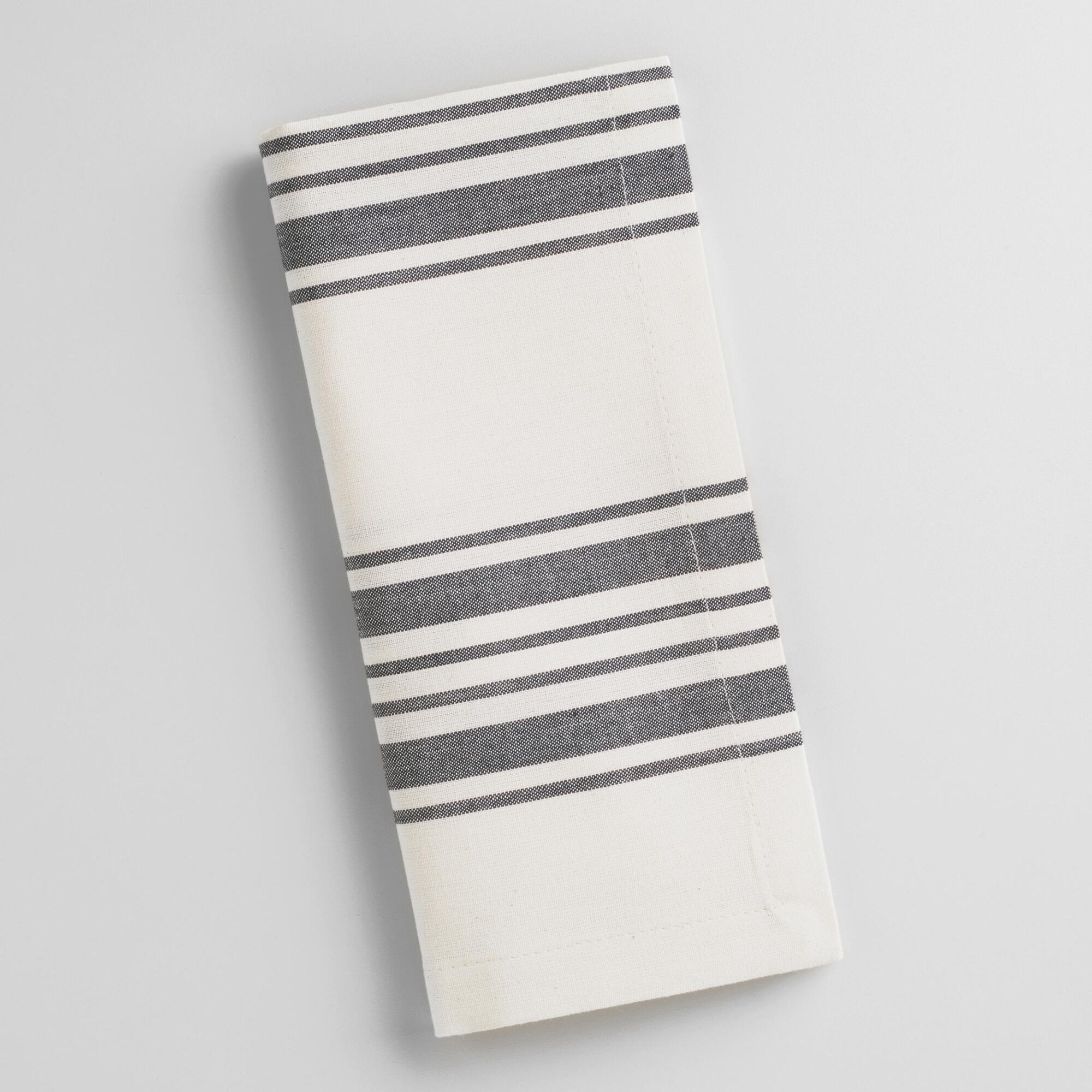 white cotton napkin with black stripes