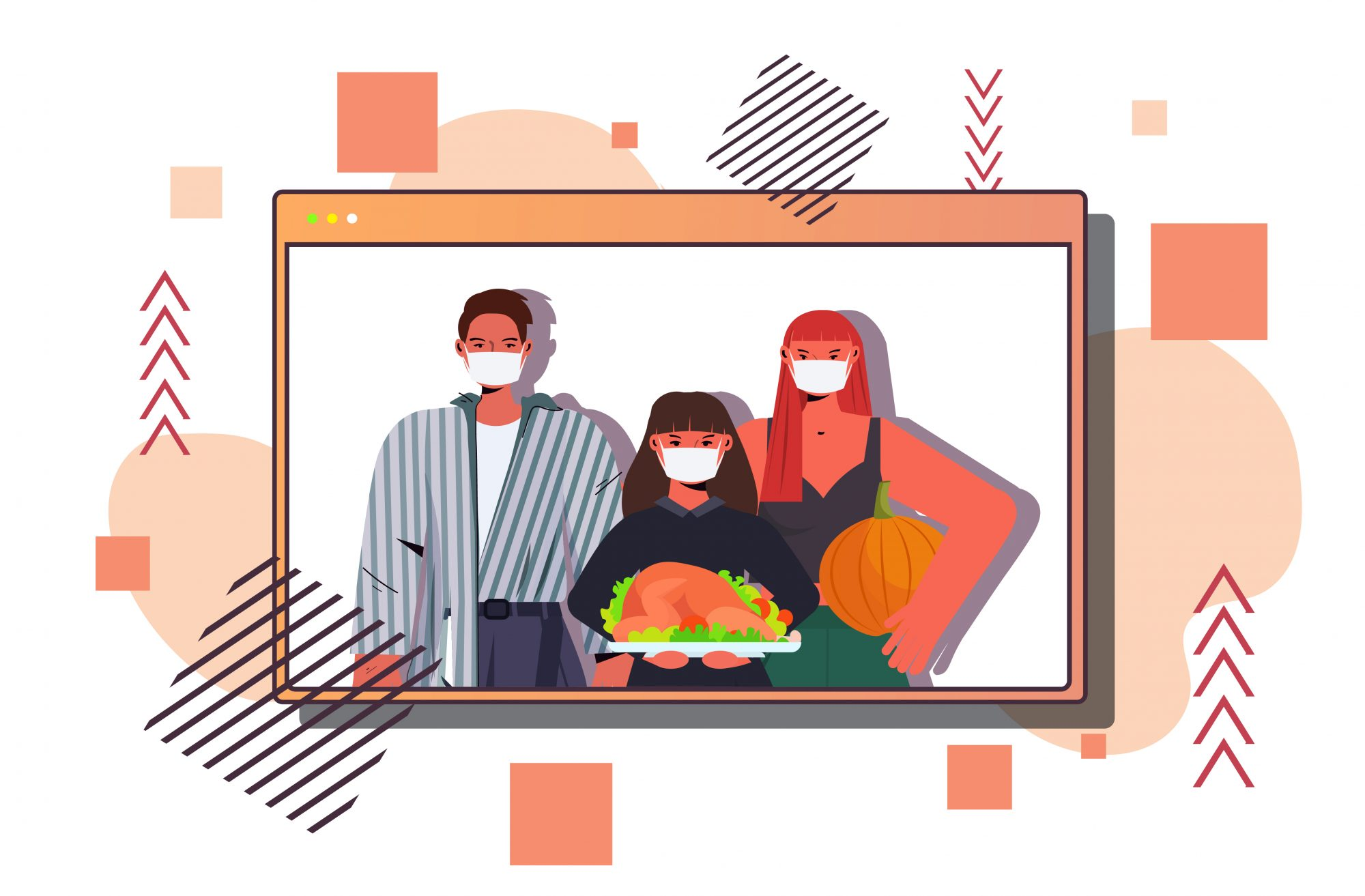 family in masks celebrating happy thanksgiving day parents and daughter standing together coronavirus quarantine