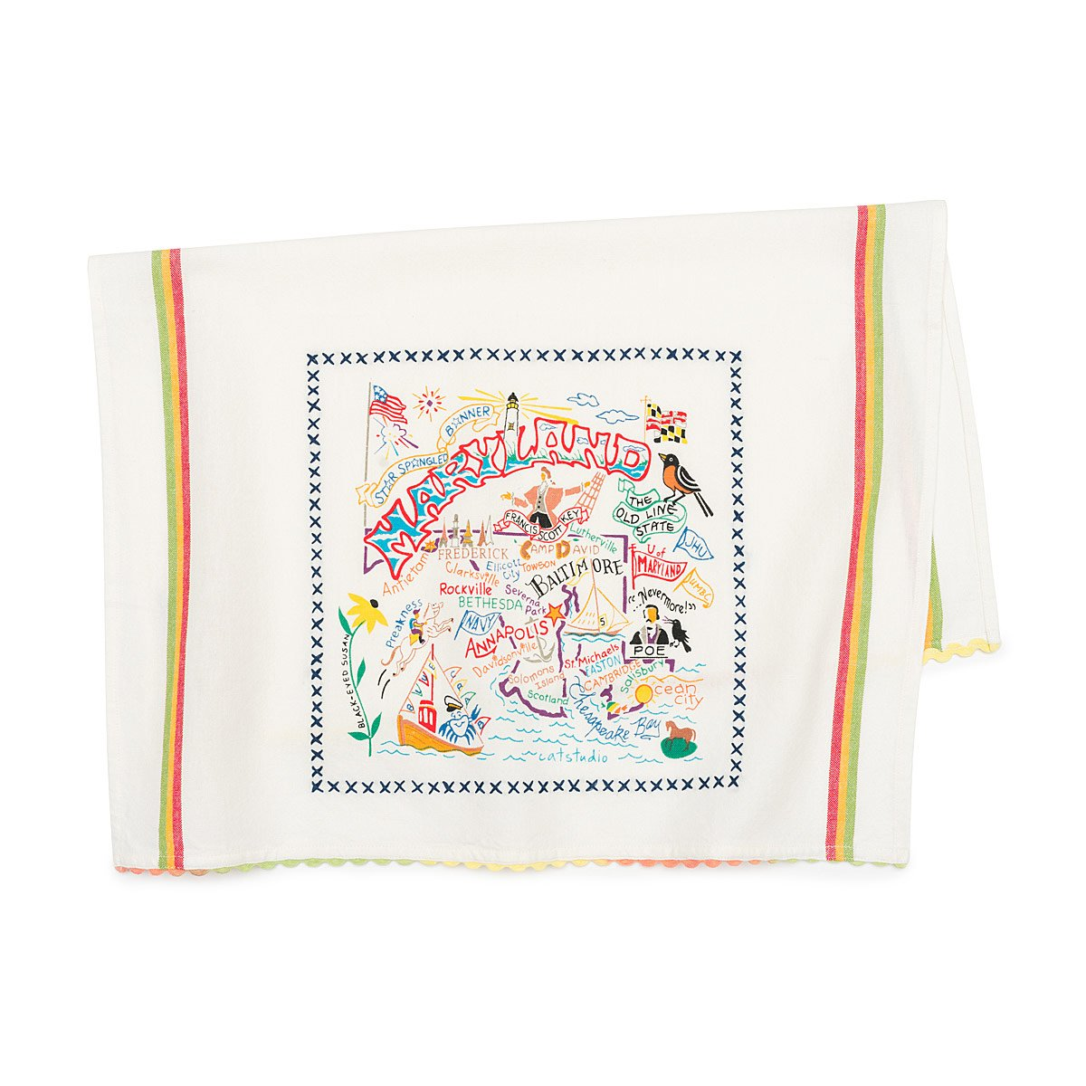 Maryland dish towel with illustrations inspired by the state