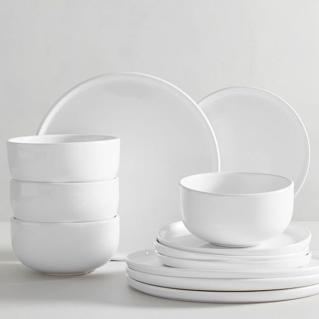 white glazed stoneware 12-piece dinnerware set