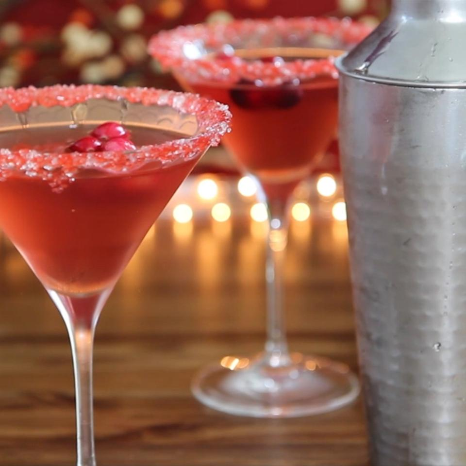 cranberry martinis in chilled martini glasses rimmed with sugar