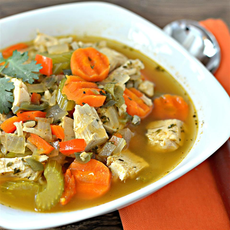 bowl of chicken, rice, carrot, celery soup