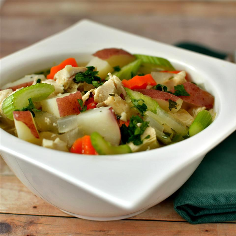 leftover turkey soup with potatoes, celery, carrots