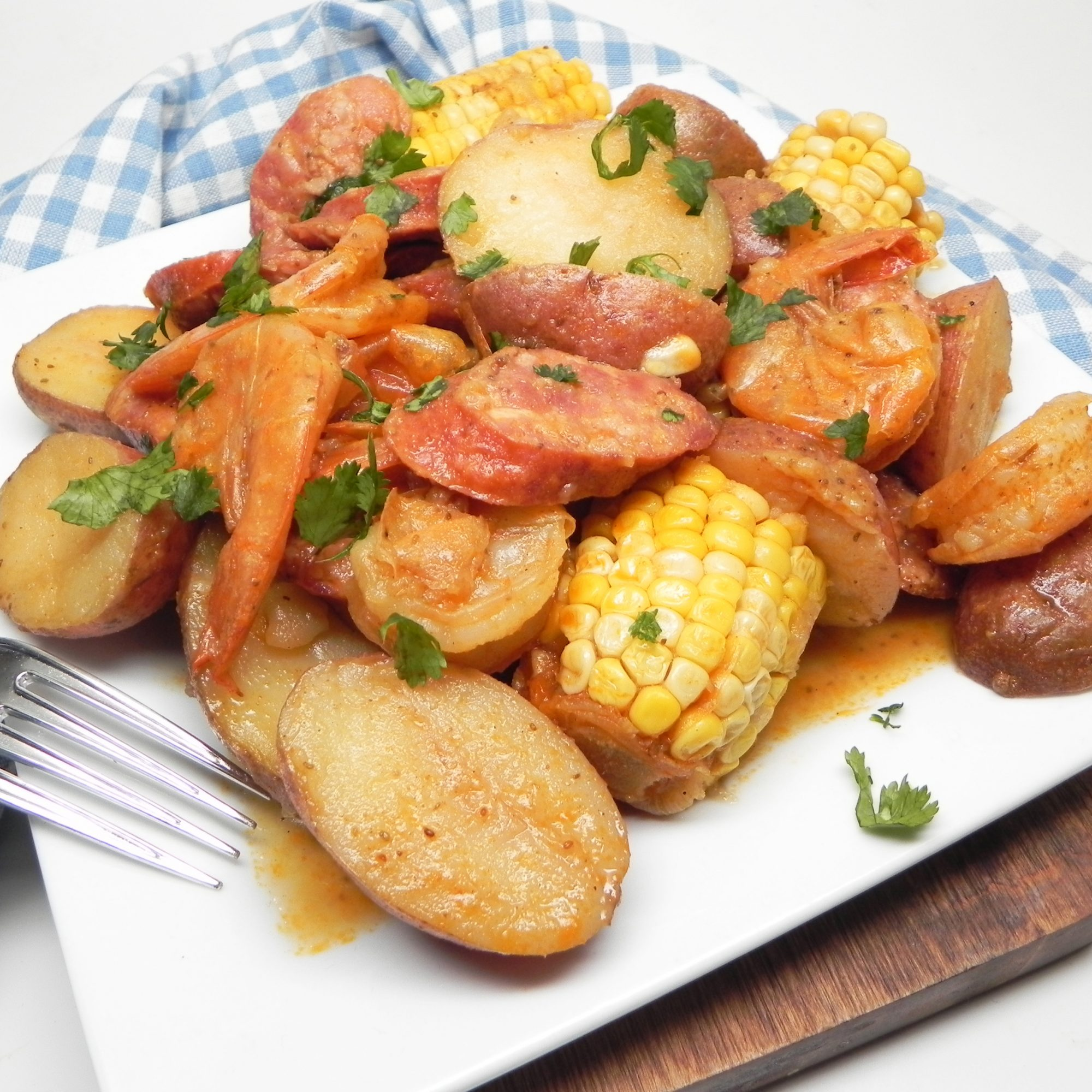 Instant Pot® Low Country Boil on a white plate