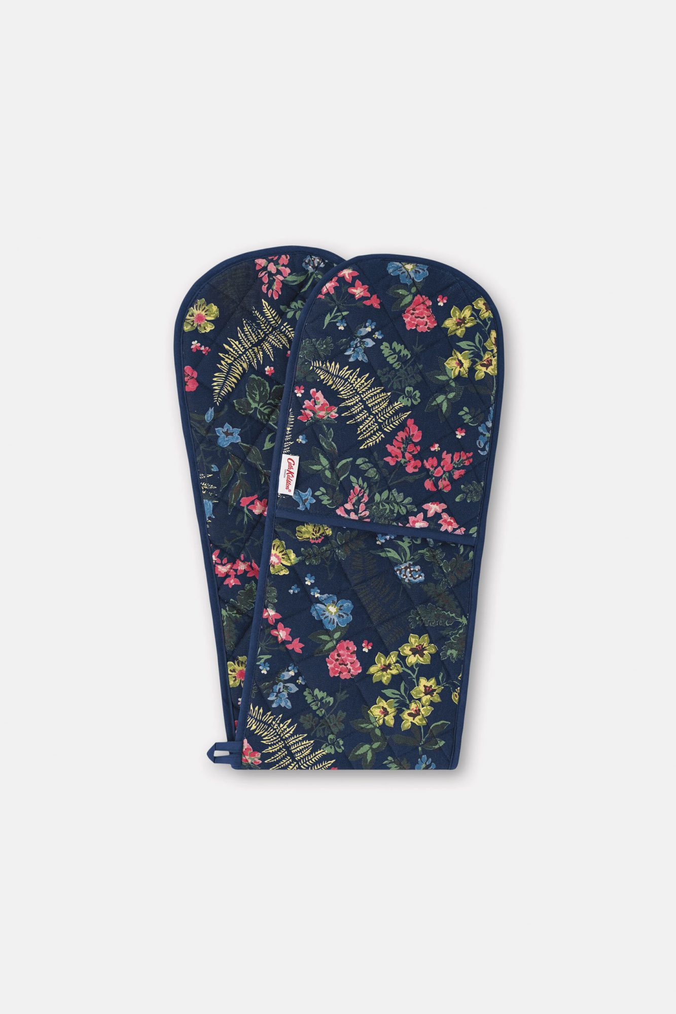 Navy floral double oven mitt