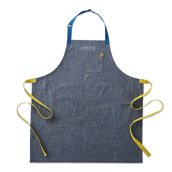 Denim Apron with green and blue straps