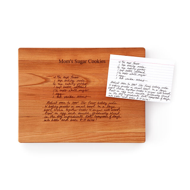 Wooden board with hand-written recipe inscribed