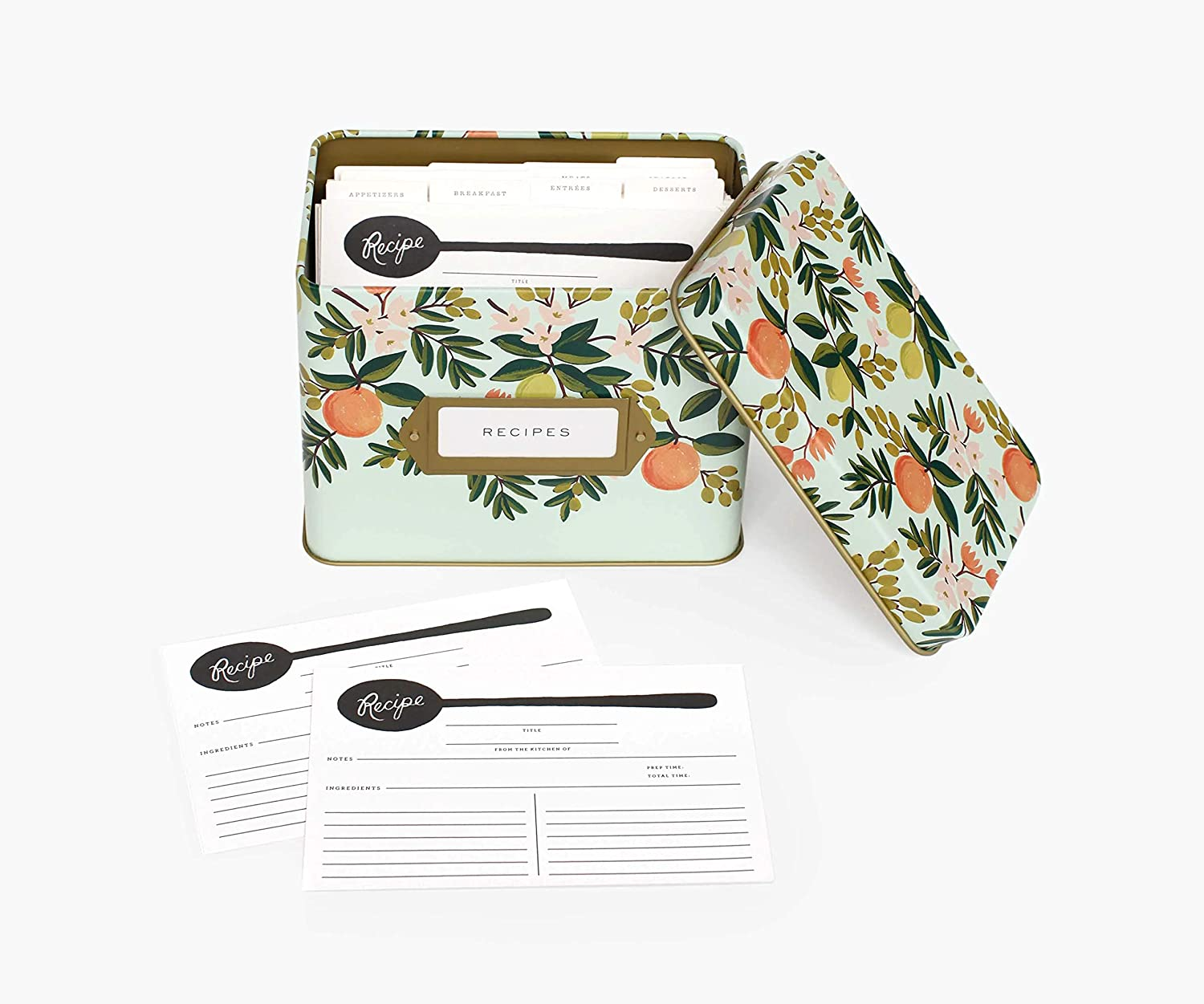 Rifle Paper Co recipe tin with recipe cards