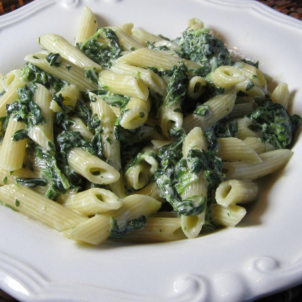 dish of spinach alfredo sauce on penne pasta