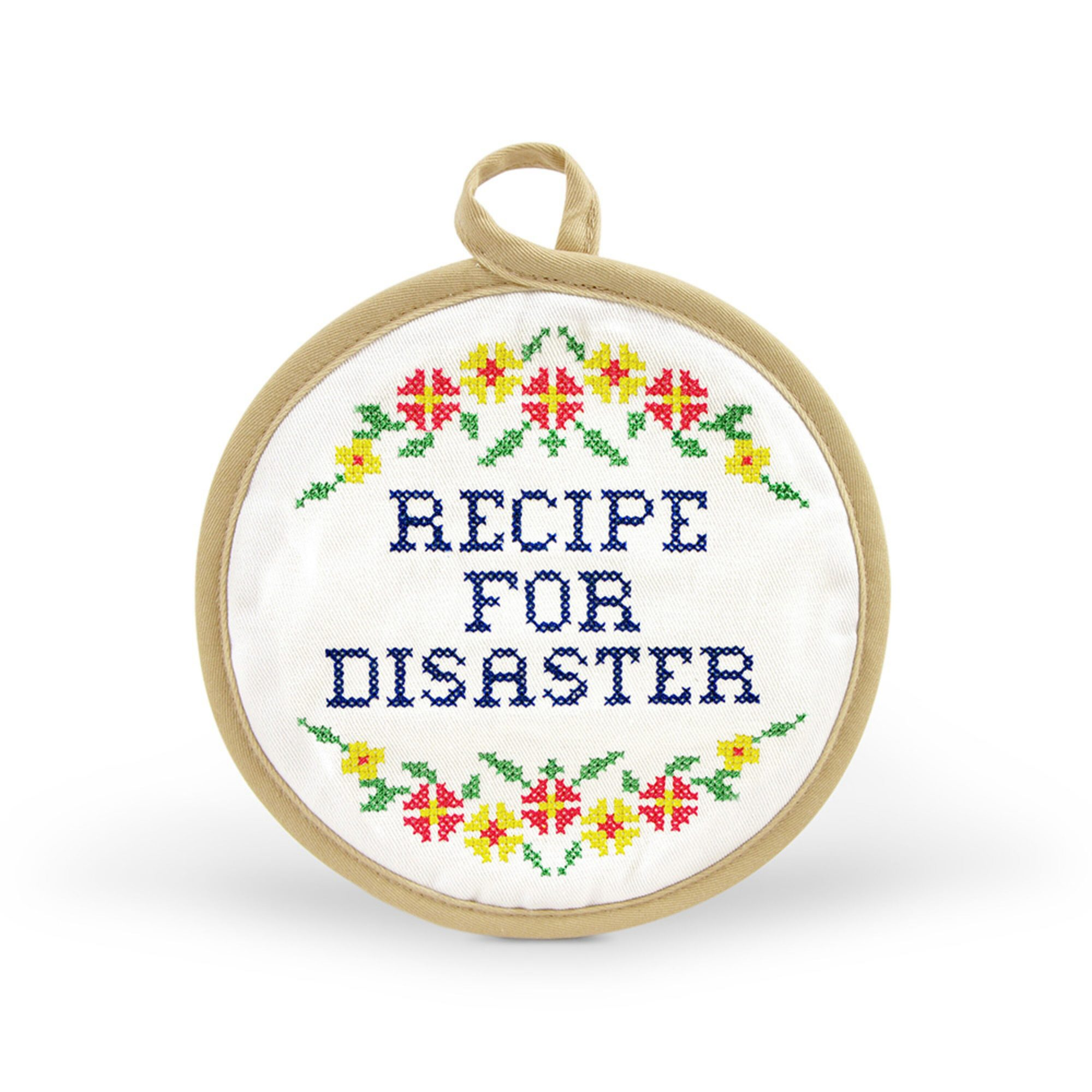 Fred Recipe for Disaster Pot Holder on a white background