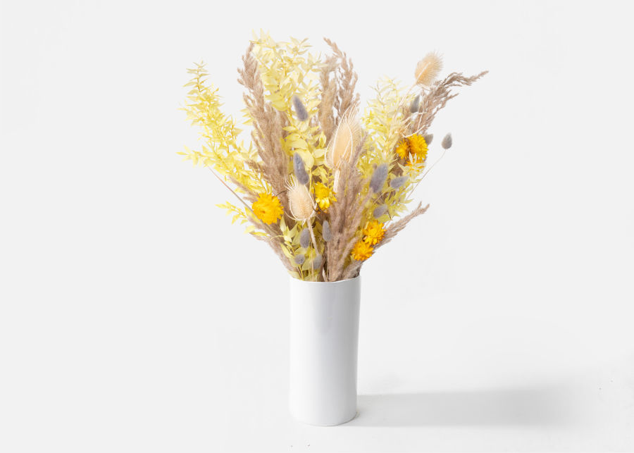 Dried yellow flower in white vase