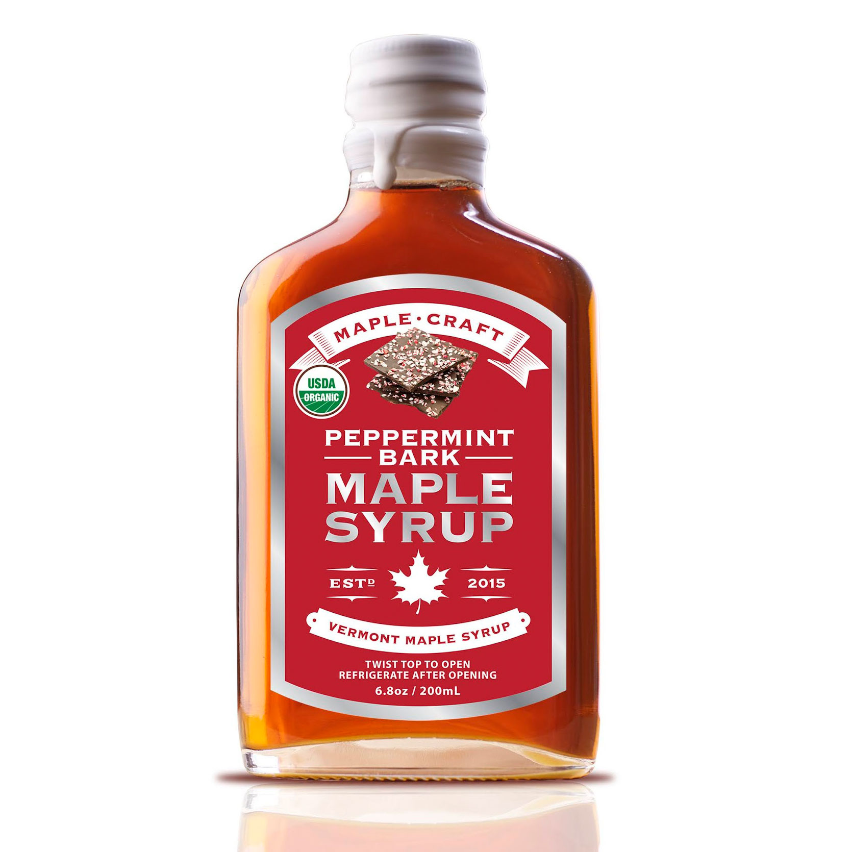 Bottle of Peppermint bark maple syrup