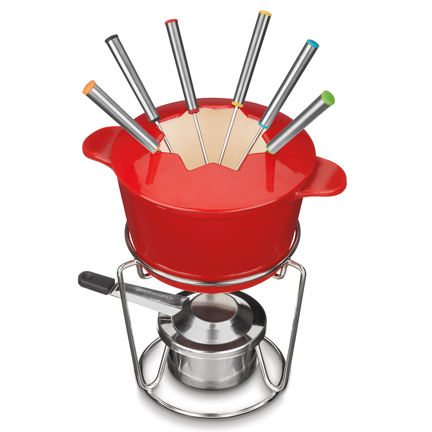 Enameled Cast Iron Cookware Fondue Set in red