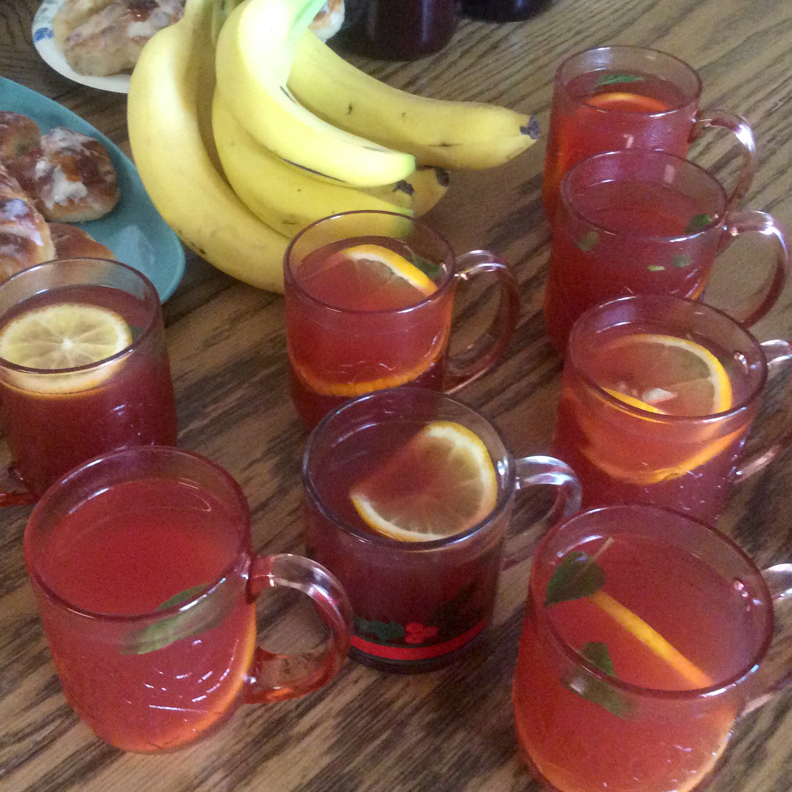 cranberry wassail punch in glass mugs