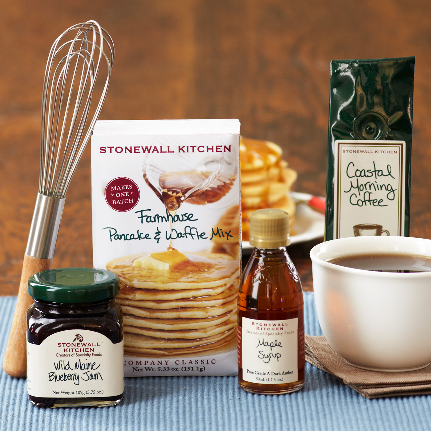 Stonewall Kitchen One Batch Breakfast Gift with jam, maple syrup, and a whisk
