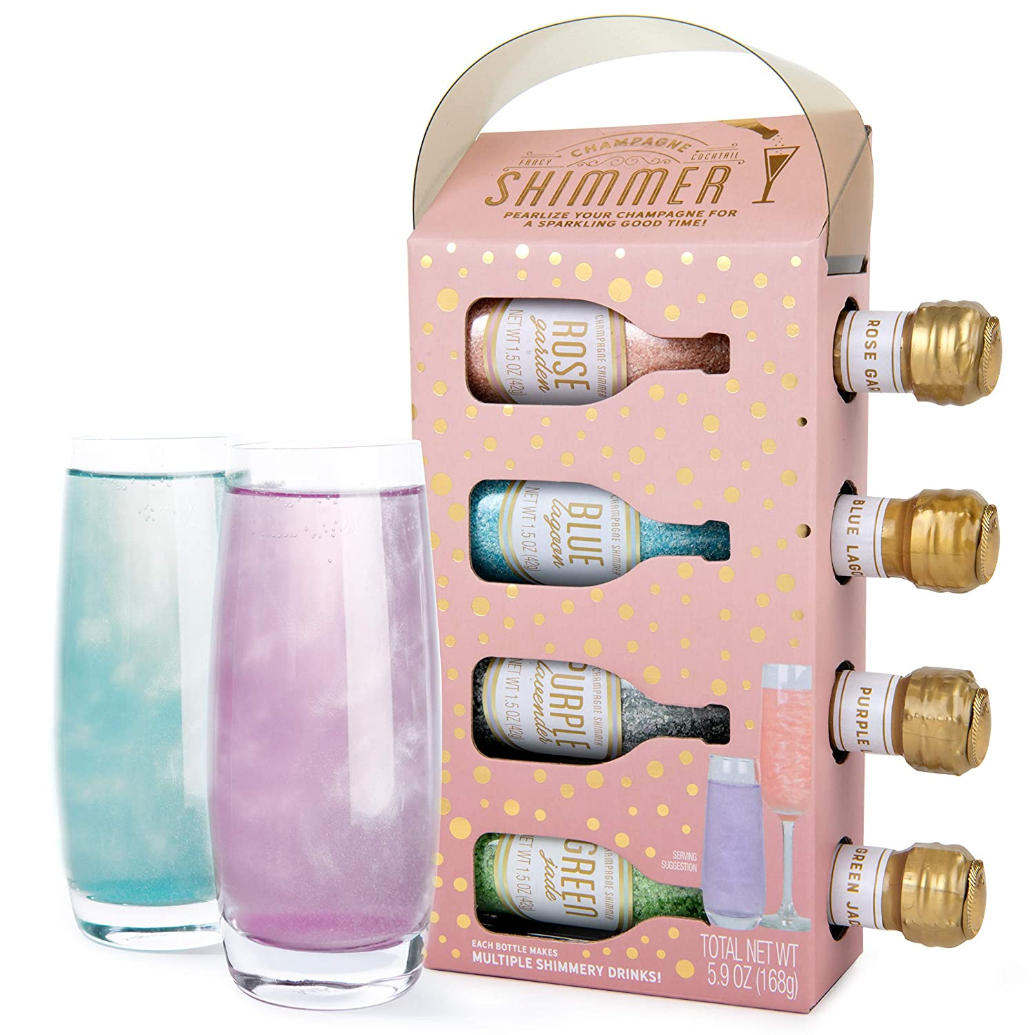 Thoughtfully Gifts Champagne Shimmer Set next to two glasses